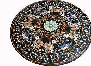"48"" Round Marble Center Table Top Pietra dura work Inlay Furniture Decor"