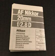 Nikon AF Nikkor 20mm f/2.8D Lens - User Instruction Manual (English)