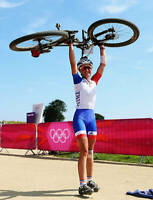 OLD LARGE CYCLING PHOTO, Julie Bresset 2012 Mountain Bike Olympic Gold 10