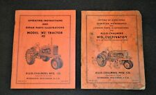 1953 57 Allis Chalmers Model Wd45 Tractor Amp Wd Cultivator Operating Manuals