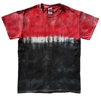 Black & Red Stripe TIE DYE T SHIRT Festival Rainbow Top Tee Tye Die Tshirt