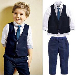 4PCS Baby Boys Dress Suit Vest + Shirt + Necktie +Pants Set Kids Clothes Outfits