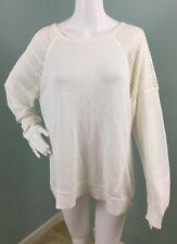 NWT Womens Calvin Klein Ivory Open Crochet Knit Cotton Blend Sweater Sz L Large