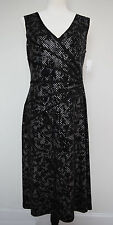 STYLISH CONNECTED APPAREL Dress Black Silver Stretch Size 10 NWT