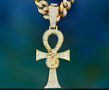 Cross Only Pendant 14K Yellow Gold Plated 0.90Ct White Sim Diam 925 Silver Ankh