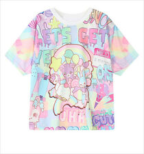 Japanese Harajuku Cartoon Print Preppy Style Crew Neck Full Colour Thin T-shirt