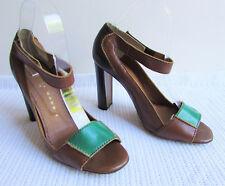 Robert Robert Sz 39.5/8.5 Brown Tan Green Leather Peep Toe Ankle Strap Hi Heels