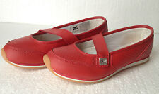 Ladies DC shoes SIZE 6 US RED dockside / Slip ons / Flats  Brown gum rubber Sole