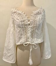 SURF GYPSY Off Shoulder White Long Trumpet Sleeve Boho Cropped Embroidered Top M