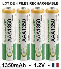 4 piles rechargeables AAA Ni-MH 1350 mAh LR03 envoyées de France lot de 4 piles