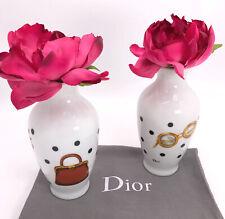 Christian Dior Authentic Vintage 90s Set Of 2 Mini Porcelain Novelty Bud Vases