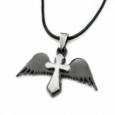 Stainless Steel Black & Silver Angel Wing Cross Pendant Leather Chain Necklace