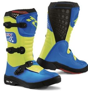 TCX Comp Youth Kids Motocross Boots UK 4 Royal Blue /Fluo Yellow New On Sale