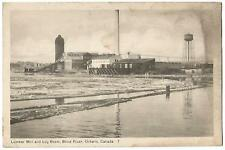 Blind River Ontario Canada ~ Lumber Mill & Log Boom ~ Lithograph Postcard 1940's