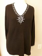Inc Black Beaded Sparkle Silk Angora V-neck Sweater Size 1X