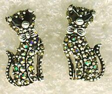"925 Sterling Silver Marcasite Cat / Kitten With Collar Stud  Earrings  16mm 5/8"""