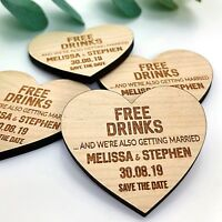 Save The Date Wedding Invitation Personalised Wooden Magnets Fridge Rustic Heart