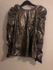 & Other Stories Shimmer Metallic Silk Party Top Puff Long Sleeve Keyhole US 6