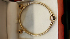 14ct Pandora Moments Gold bracelet and 2 charms