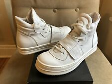 SAVIO BARBATO COOL WHITE LEATHER HIGH TOP WIDE SOLE SNEAKERS TENNIS SHOES 43 10