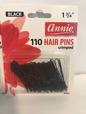 "ANNIE 110 HAIR PINS 1 3/4"" BLACK #3313 CRIMPED U-SHAPE 3-Pack. New. Shipped Free"