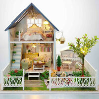 3D Dollhouse Miniature DIY Kit Dolls House With Furniture Gift Princess-UK