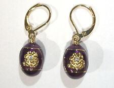 Joan Rivers Earrings Purple Flower Crystal Egg Gold Overlay