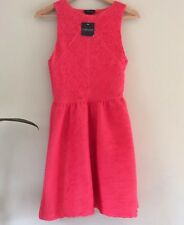 Topshop Coral Red Fit & Flare Stretch Textured Dress Size 8/10 Side Zip & Lining
