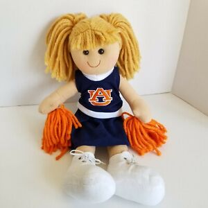 """Auburn Tigers Cheerleader Plush Doll GAME DAY OUTFITTERS NWT Pom Pom Pigtail 18"""""""