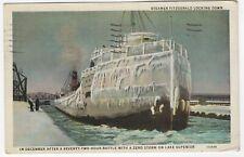 1937 Postcard. Steamer Fitzgerald Locking Down. Lake Superior.
