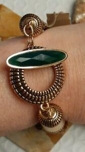 BARSE Emerald Quartz Multi Strand Braided Leather Bronze Toggle Bracelet Small
