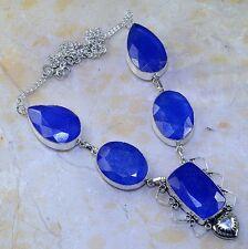 hecho a Mano Azul Piedra Preciosa Zafiro Plata de ley 925 Collar 48.3cm m53233