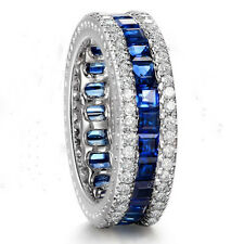 Eternity Band Blue Sapphire Channel CZ Engagement Ring White Gold Filled Sz 6-10
