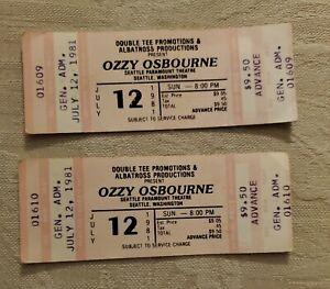 2 UNUSED Ozzy Osbourne 1981 SEATTLE CONCERT MUSIC TICKET STUB # 1609 & 1610