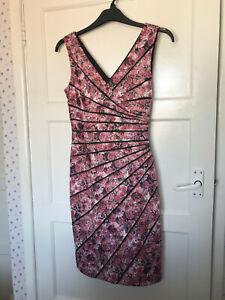Phase Eight Pink Floral Sleeveless V Neck Occasion Dress Wedding UK Size 10