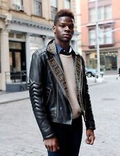 Versace HM Men Black Leather Studded Jacket Sz. M Medium
