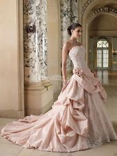 Custom Best Seller Ball Gown Strapless Lace up Back Applique Pink Wedding Dress