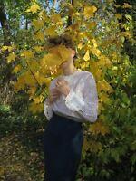 Spitzenbluse weiß Rüschen Damenbluse Bluse 70er TRUE VINTAGE 70s lace blouse top