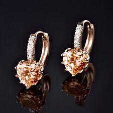 18k Gold Filled Love Heart Vintage Brown Swarovski Crystal Hoop Huggie Earring