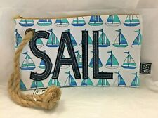 Women's Sailboat Print Canvas Handbag Clutch Wristlet Rope Handle Blue White