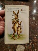 "Vintage EASTER Postcard momma rabbit baby rabbit ""Joy to You This Eastertide"""