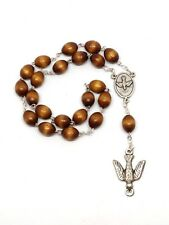 Workers Rosary - Peace Chaplet - Beautiful Wooden Beads - Holy Spirit Dove