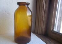 CRUDE WHITTLED GOLDEN AMBER 1870s HALF GALLON WAX SEALER FRUIT JAR