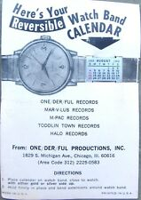 Chicago Soul Promo Item: 1968 Watch Band Calendar & Card: One-Derful Records