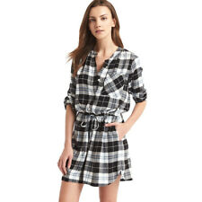 Gap Women's Fall Black Plaid Long Sleeve Cinch Waist Shirt Dress Size S NWT