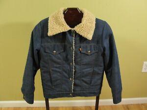 Vintage 60s Levi's Denim Sherpa Lined Trucker Jacket Orange Tag Mens Sz M