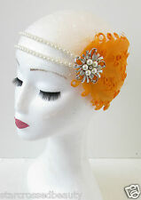 Orange Ivory Silver & Pearl Feather Headpiece Flapper Vintage 1920s Headband O87