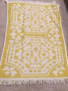 Cannon Monticello Hand towel Yellow Floral Vintage Fringe 100% Cotton