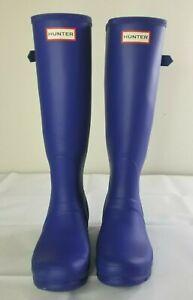 HUNTER Original Tall Royal Blue Rain Boots Women's 7 Buckle Knee High