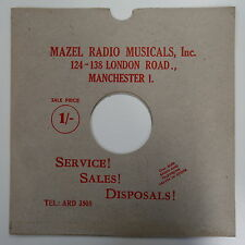 "78rpm 12"" card gramophone record sleeve MAZEL RADIO , MANCHESTER , RED PRINT"